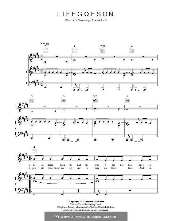 L.I.F.E.G.O.E.S.O.N. (Noah and The Whale): Para vocais e piano (ou Guitarra) by Charlie Fink