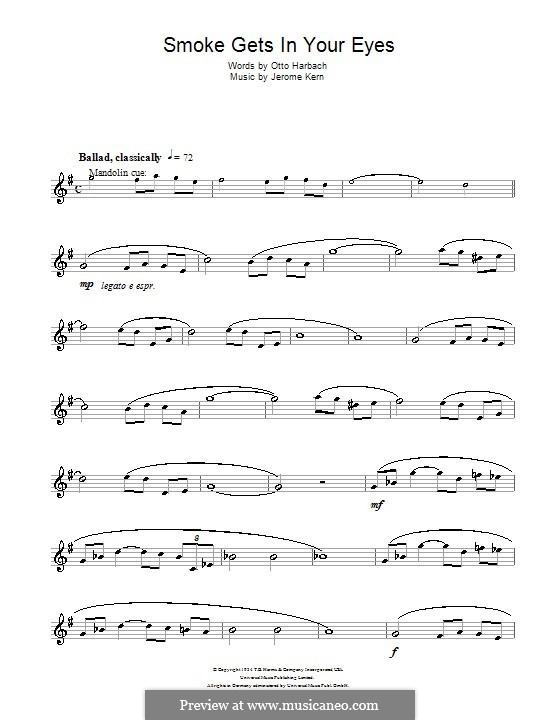 Smoke Gets in Your Eyes (from 'Roberta'): para saxofone tenor by Jerome Kern