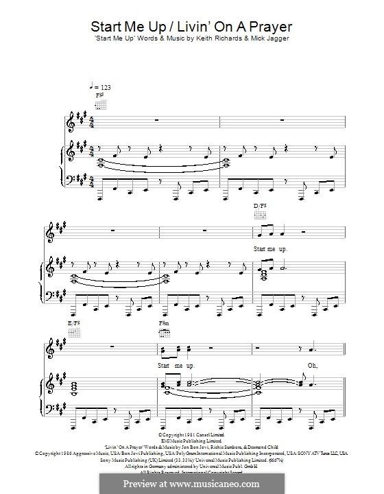 Start Me Up / Livin' on a Prayer: Para vocais e piano (ou Guitarra) by Desmond Child, Jon Bon Jovi, Keith Richards, Mick Jagger, Richie Sambora