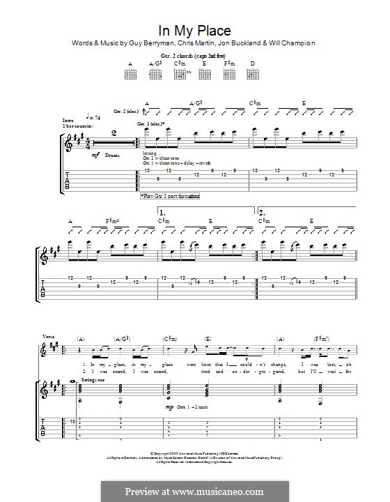 In My Place (Coldplay): Para Guitarra by Chris Martin, Guy Berryman, Jonny Buckland, Will Champion