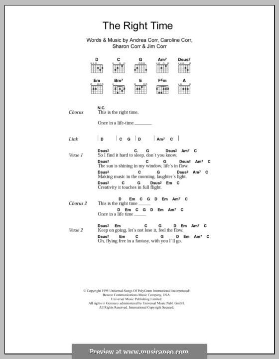 The Right Time (The Corrs): Letras e Acordes by Andrea Corr, Caroline Corr, Jim Corr, Sharon Corr
