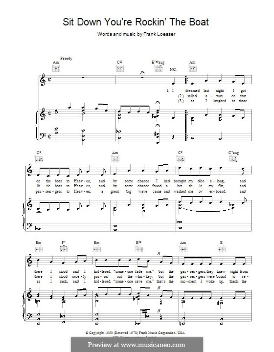 Sit Down, You're Rockin' the Boat: Para vocais e piano (ou Guitarra) by Frank Loesser