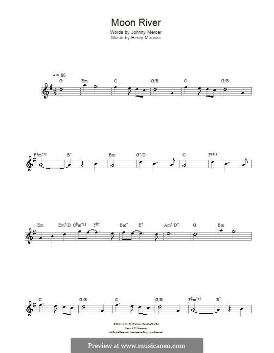 Moon River (from Breakfast at Tiffany's): para flauta by Henry Mancini