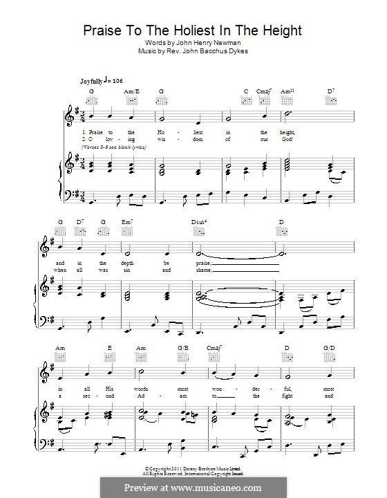 Praise to the Holiest in the Heights: Para vocais e piano (ou Guitarra) by John Bacchus Dykes