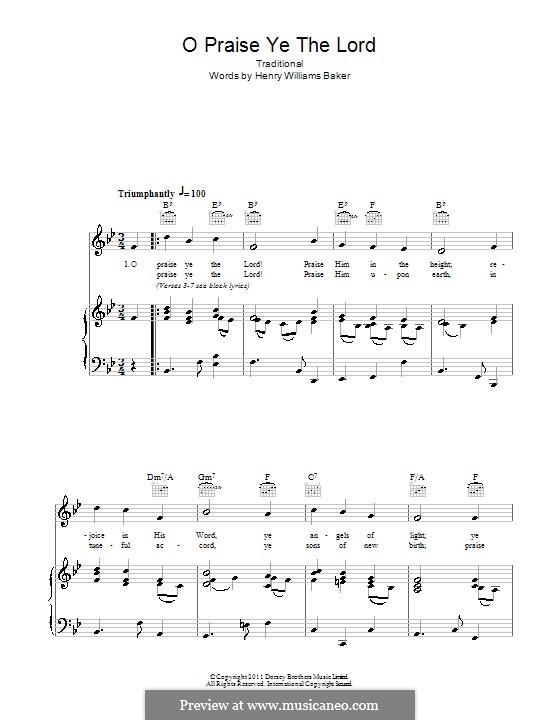 O Praise Ye the Lord: Para vocais e piano (ou Guitarra) by folklore
