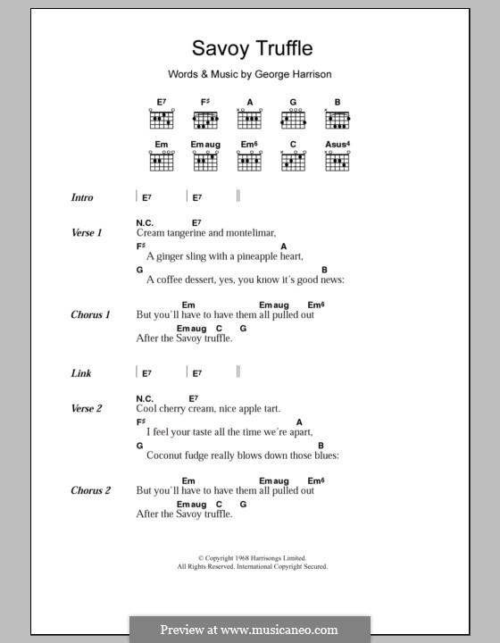 Savoy Truffle (The Beatles): Letras e Acordes by George Harrison