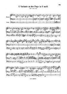 Fugue in C Minor, BWV 574a: Fugue in C Minor by Johann Sebastian Bach