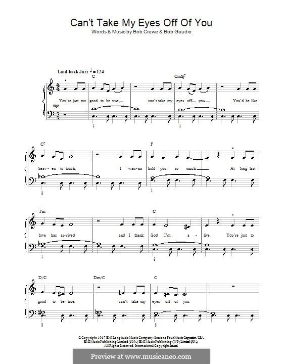 Can't Take My Eyes Off of You (Frankie Valli & The Four Seasons): Facil para o piano by Bob Crewe, Bob Gaudio