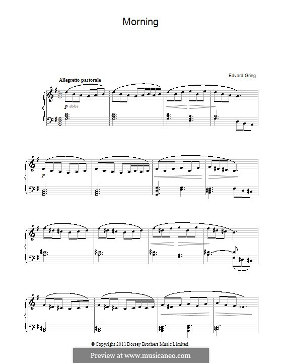 Suite No.1. Morning Mood, Op.46 No.1: Facil para o piano by Edvard Grieg