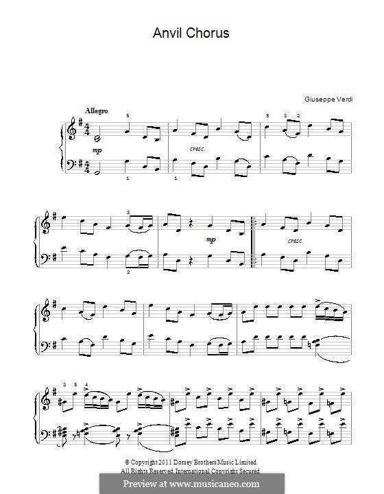 Anvil Chorus: Para Piano by Giuseppe Verdi