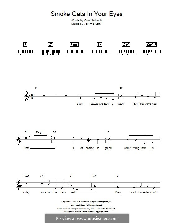 Smoke Gets in Your Eyes (from 'Roberta'): para teclado by Jerome Kern