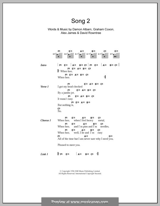 Song 2 (Blur): Letras e Acordes by Alex James, Damon Albarn, David Rowntree, Graham Coxon