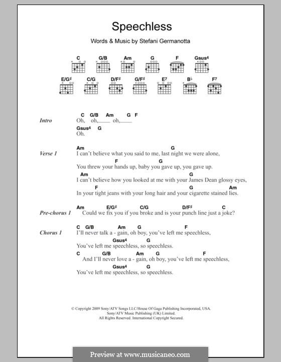 Speechless (Lady Gaga): Letras e Acordes by Stefani Germanotta