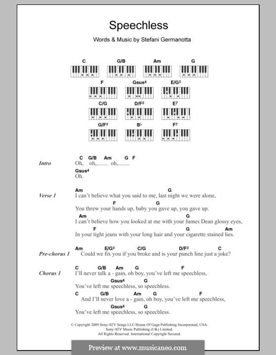 Speechless (Lady Gaga): letras e acordes para piano by Stefani Germanotta