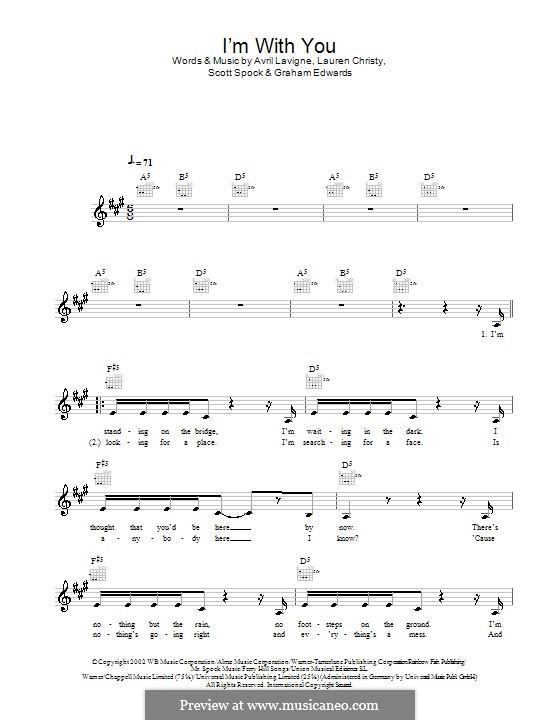 I'm with You: melodía,letras e acordes by Avril Lavigne, Graham Edwards, Lauren Christy, Scott Spock