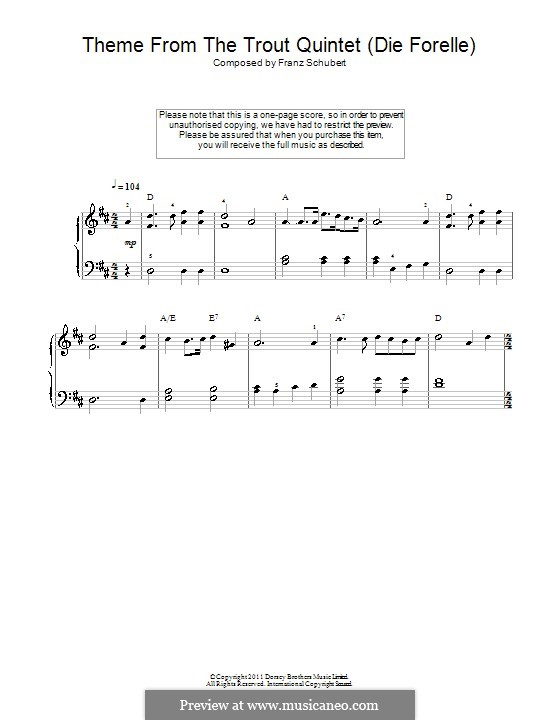 Quintet for Strings and Piano 'The Trout', D.667 Op.114: Movement IV (Theme). Version for easy piano by Franz Schubert