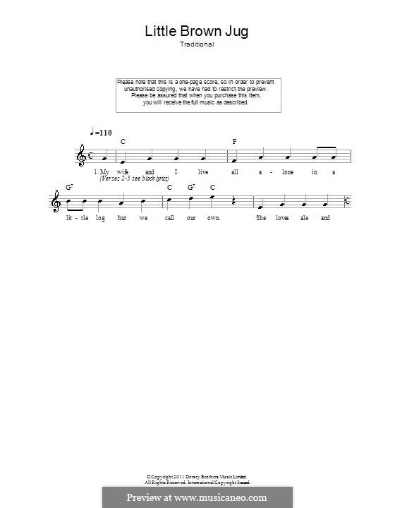 Little Brown Jug: melodía,letras e acordes by folklore