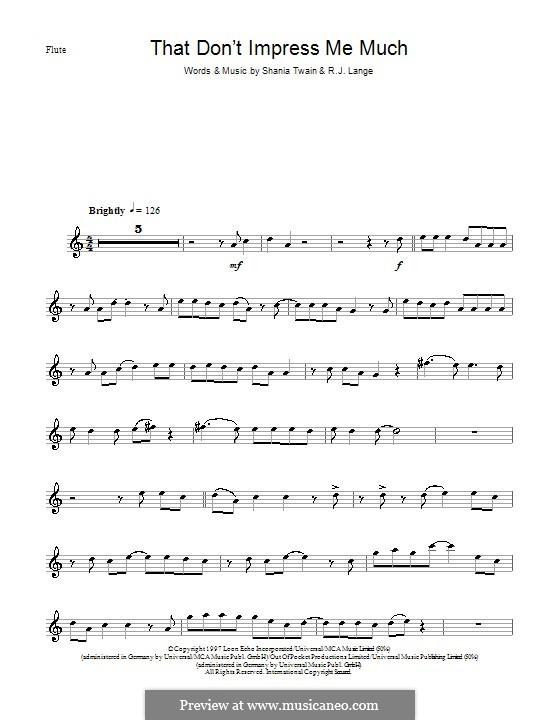 That Don't Impress Me Much: para flauta by Robert John Lange, Shania Twain