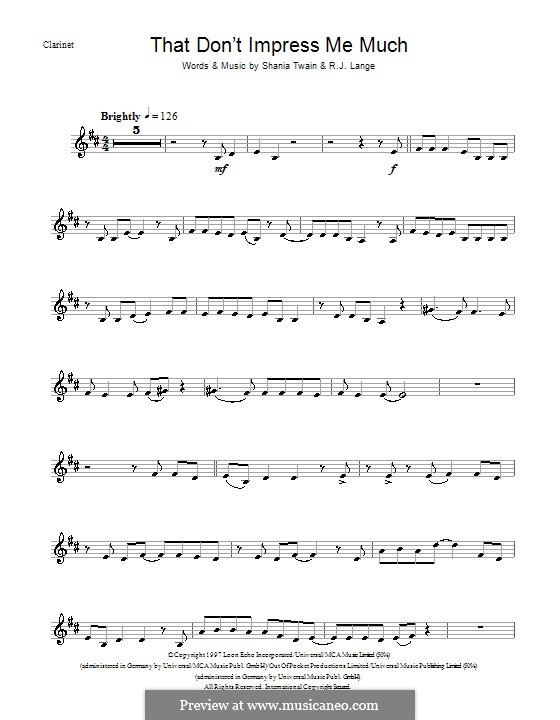 That Don't Impress Me Much: para clarinete by Robert John Lange, Shania Twain
