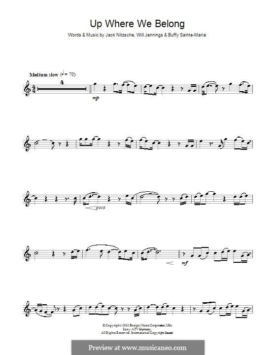 Up Where We Belong (Joe Cocker and Jennifer Warnes): para flauta by Buffy Sainte-Marie, Jack Nitzsche, Will Jennings