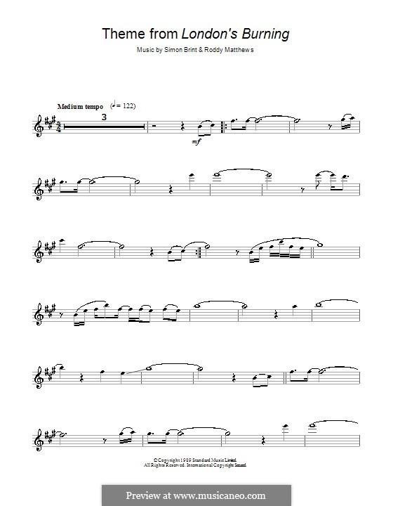 Theme from London's Burning: para Saxofone Alto by Roddy Matthews, Simon Brint