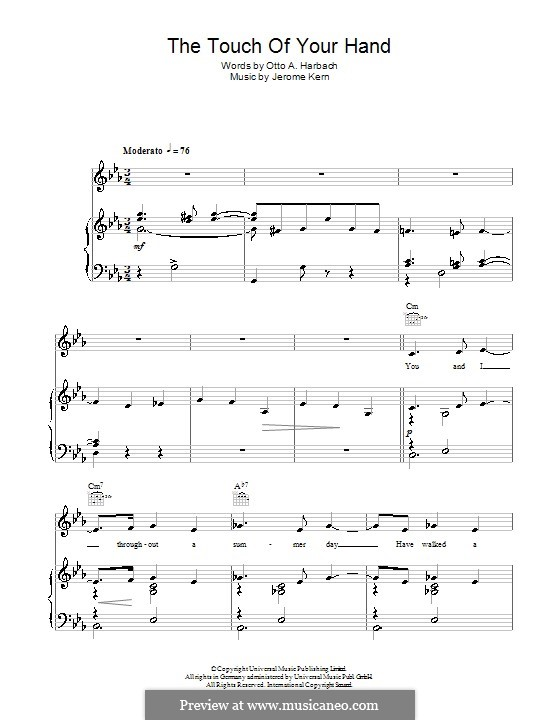 The Touch of Your Hand: Para vocais e piano (ou Guitarra) by Jerome Kern