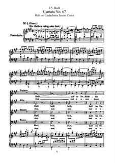Halt im Gedächtnis Jesum Christ (Hold in Remembrance Jesus Christ), BWV 67: arranjos para vozes e piano by Johann Sebastian Bach