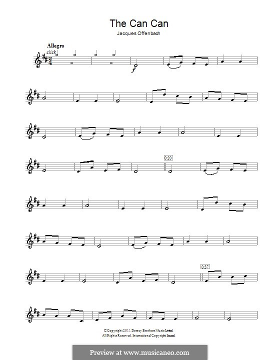Can-Can (Printable Scores): para clarinete by Jacques Offenbach