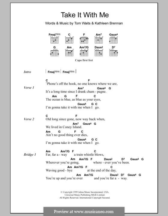Take It with Me: Letras e Acordes by Kathleen Brennan, Tom Waits