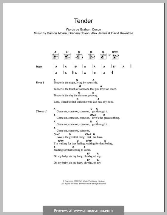 Tender (Blur): Letras e Acordes by Alex James, Damon Albarn, David Rowntree, Graham Coxon