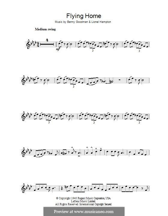 Flying Home: For tenor saxophone (Ella Fitzgerald) by Benny Goodman, Lionel Hampton