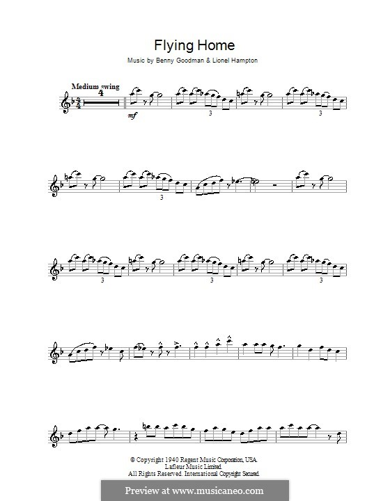 Flying Home: For alto saxophone (Ella Fitzgerald) by Benny Goodman, Lionel Hampton