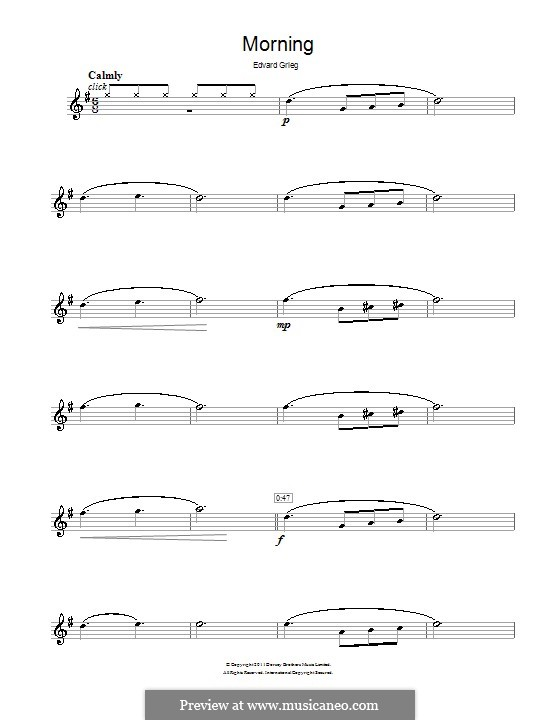 Suite No.1. Morning Mood, Op.46 No.1: para flauta by Edvard Grieg
