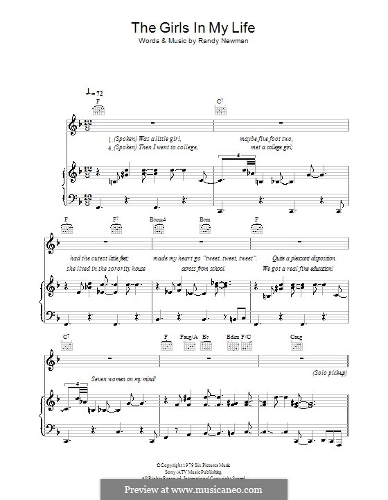 The Girls in My Life: Para vocais e piano (ou Guitarra) by Randy Newman