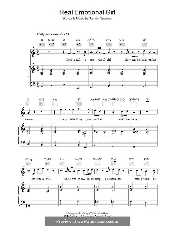 Real Emotional Girl: Para vocais e piano (ou Guitarra) by Randy Newman