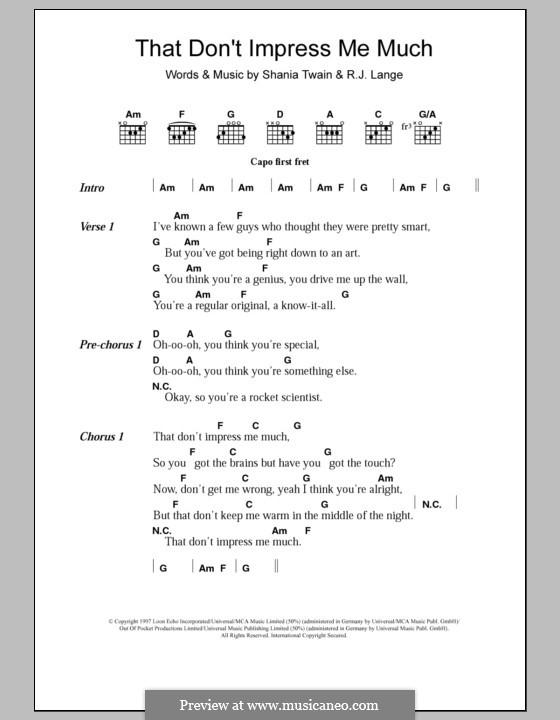 That Don't Impress Me Much: Letras e Acordes by Robert John Lange, Shania Twain