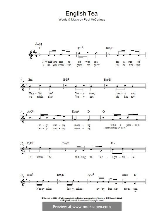 English Tea: melodía,letras e acordes by Paul McCartney