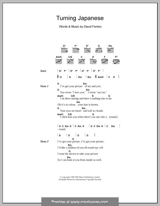 Turning Japanese (The Vapours): Letras e Acordes by David Fenton