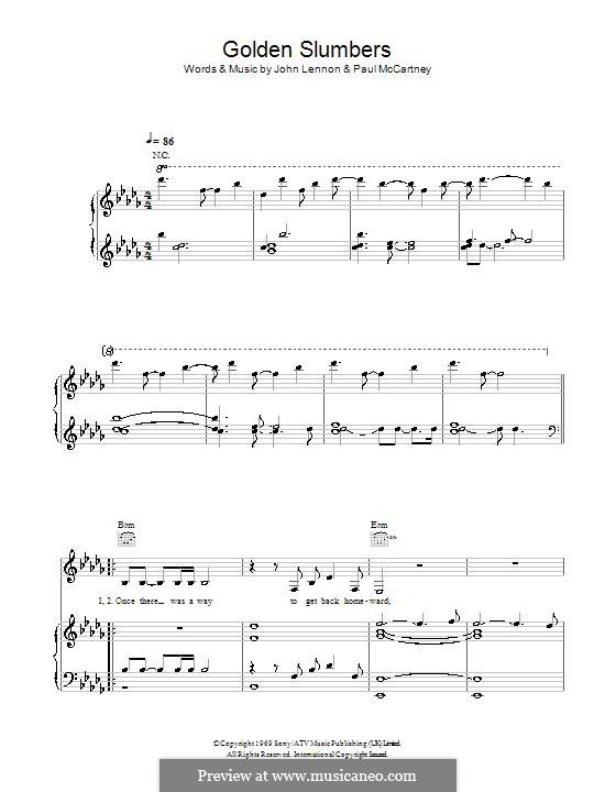 Golden Slumbers (The Beatles): Para vocais e piano (ou Guitarra) by John Lennon, Paul McCartney
