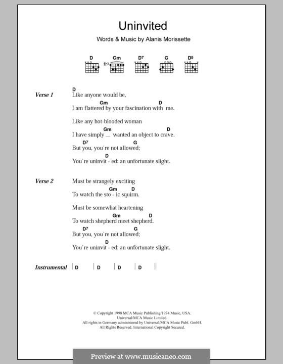 Uninvited: Letras e Acordes by Alanis Morissette
