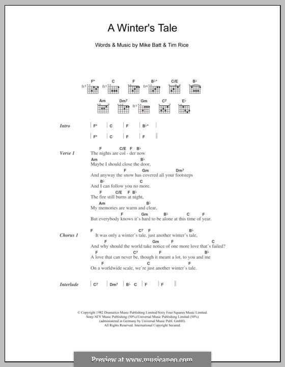 A Winter's Tale (David Essex): Letras e Acordes by Mike Batt