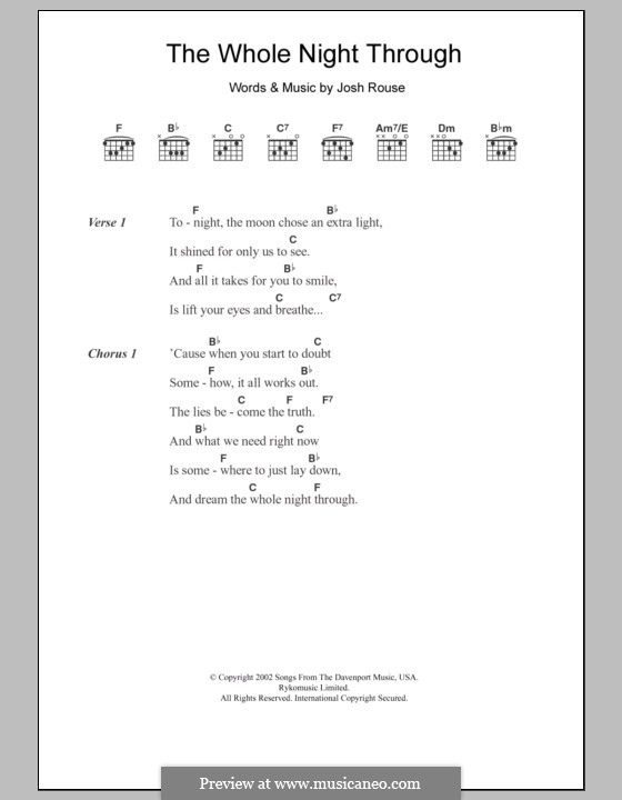 The Whole Night Through: Letras e Acordes by Josh Rouse