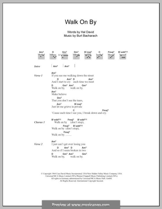 Walk on By: Lyrics and chords (Dionne Warwick) by Burt Bacharach