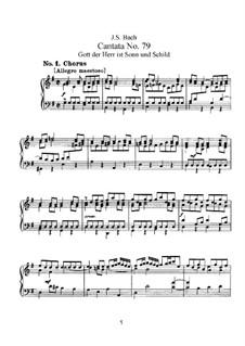Gott der Herr ist Sonn und Schild (The Lord God is sun and shield), BWV 79: arranjos para vozes e piano by Johann Sebastian Bach