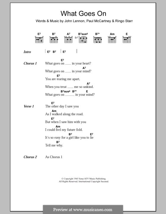 What Goes on? (The Beatles): Letras e Acordes by John Lennon, Paul McCartney, Ringo Starr