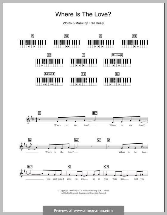 Where Is the Lovev (Travis): para teclado by Fran Healy