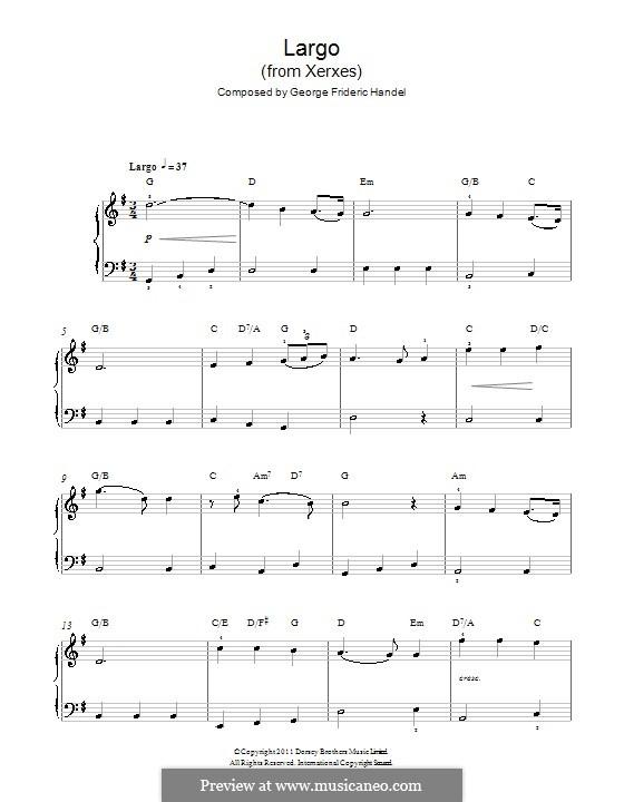 Largo: facil Para piano com acordes by Georg Friedrich Händel