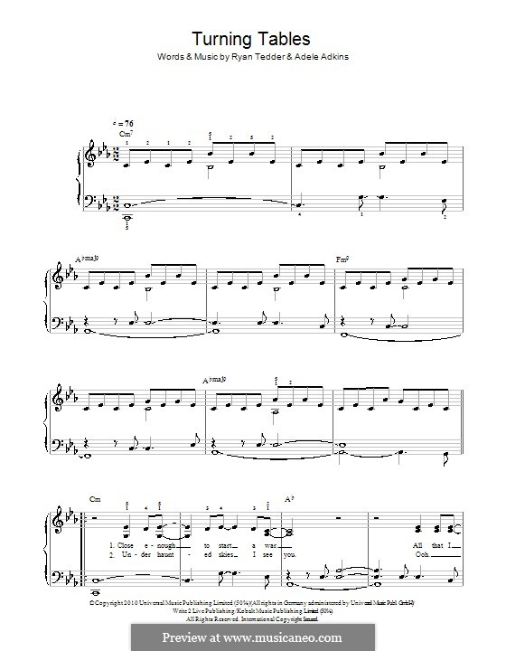 Turning Tables: For easy piano (C Minor) by Adele, Ryan B Tedder