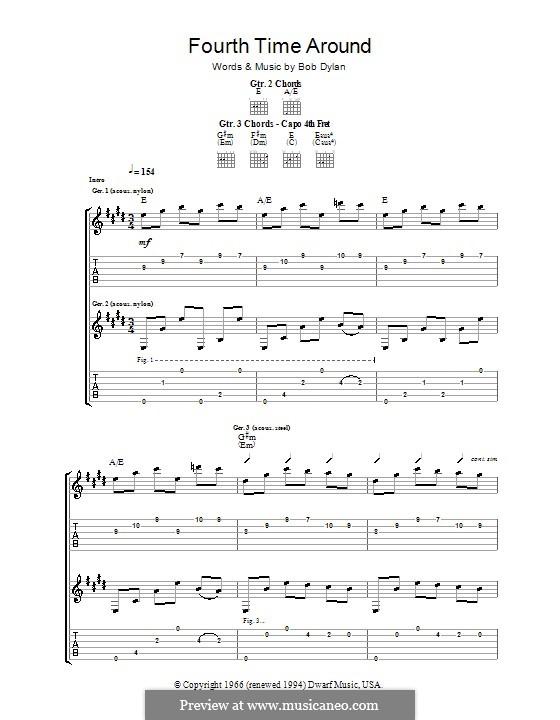 Fourth Time Around: Para guitarra com guia by Bob Dylan