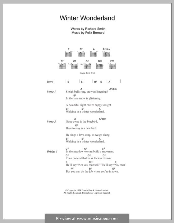 Winter Wonderland: Lyrics and chords (Johnny Mathis) by Felix Bernard